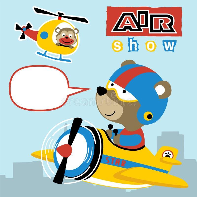 Desenhos animados piloto dos animais engraçados ilustração stock
