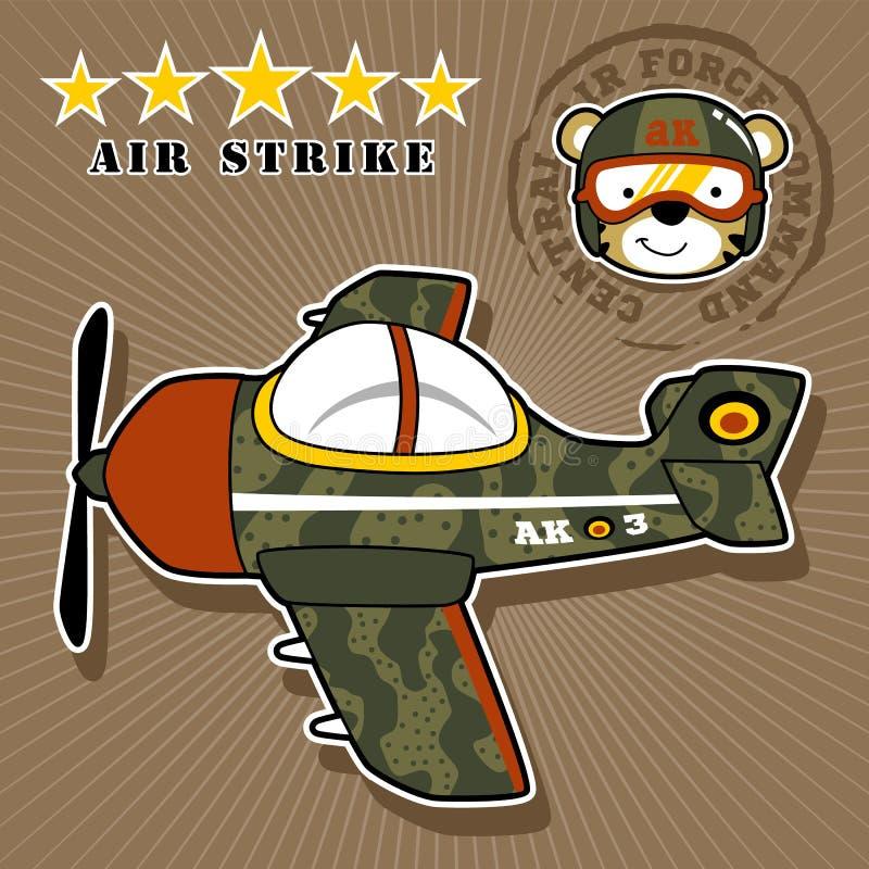 Desenhos animados planos militares com piloto engraçado ilustração do vetor