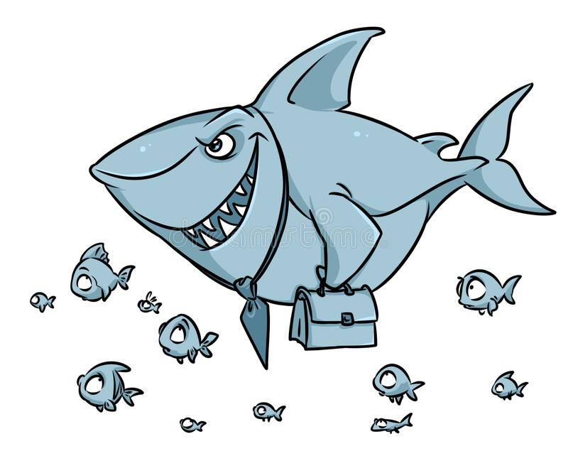 Desenhos animados predatórios da superioridade da competição do negócio do tubarão dos peixes ilustração stock