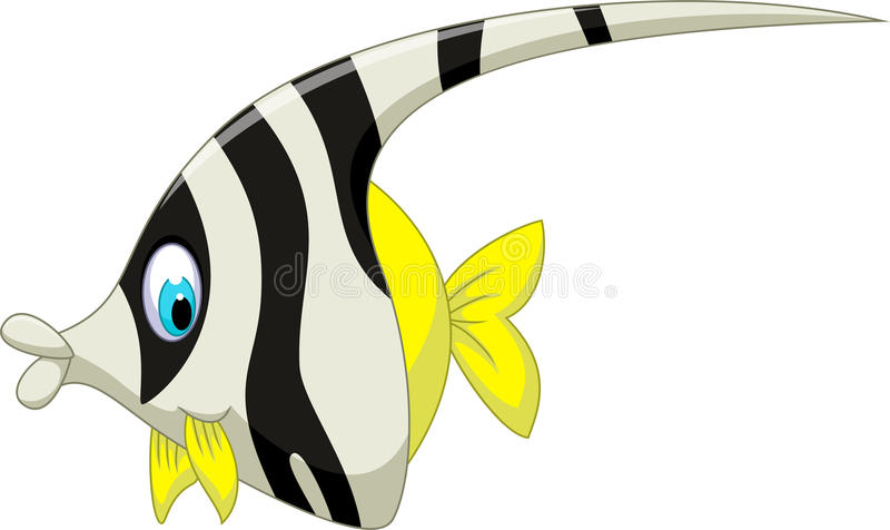 Desenhos animados preto e branco engraçados dos peixes do anjo ilustração stock