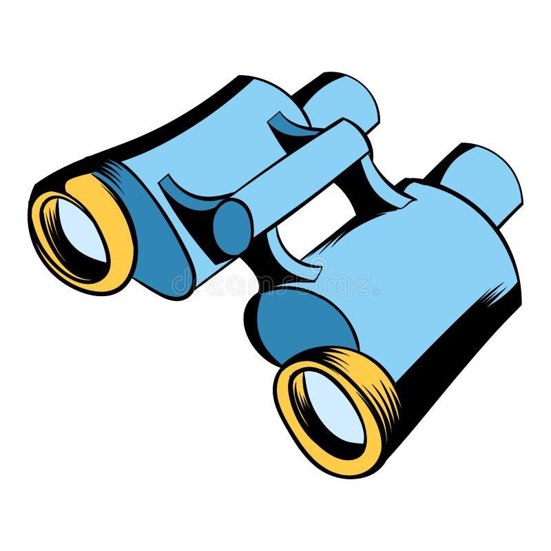 Desenhos animados pretos do ícone dos binóculos ilustração do vetor