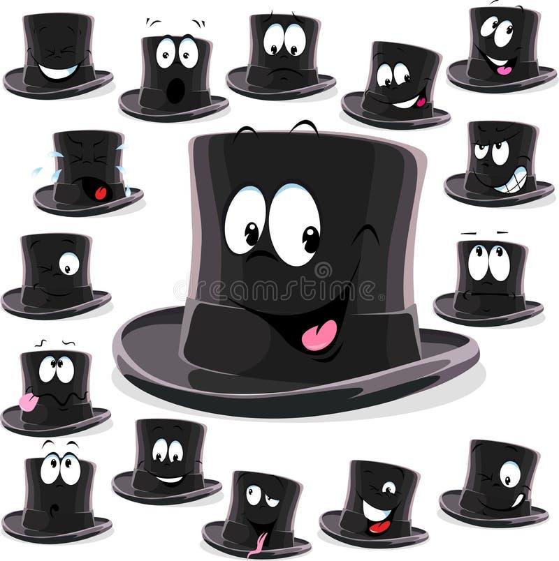 Desenhos animados pretos do chapéu alto isolados no branco ilustração do vetor
