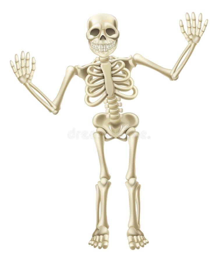 Desenhos animados que acenam o caráter de esqueleto ilustração royalty free