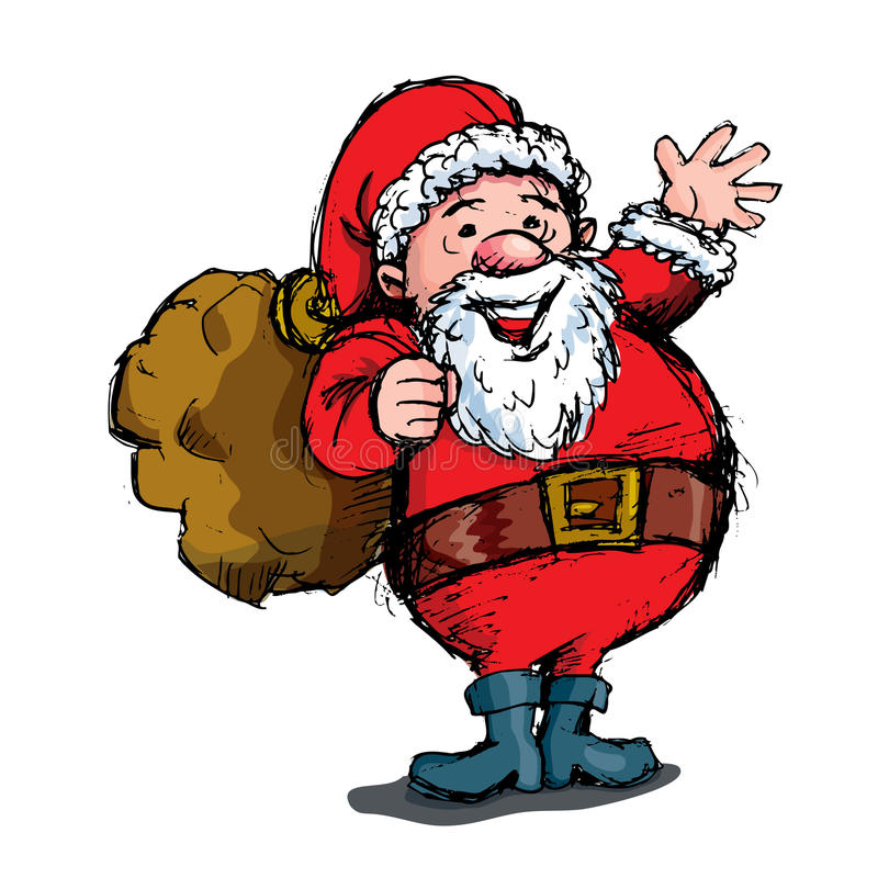 Desenhos animados que acenam Santa com saco ilustração royalty free