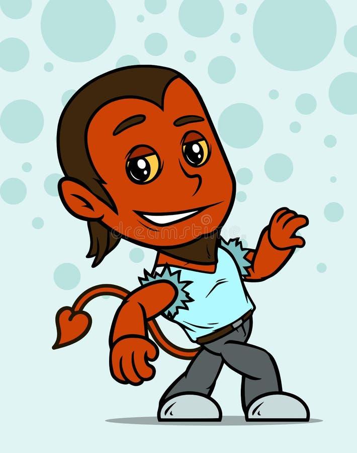 Desenhos animados que andam pouco caráter do menino do diabo vermelho ilustração royalty free