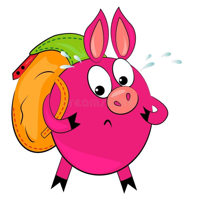 Desenhos animados que caminham o porco animal de illustration.cute ilustração stock