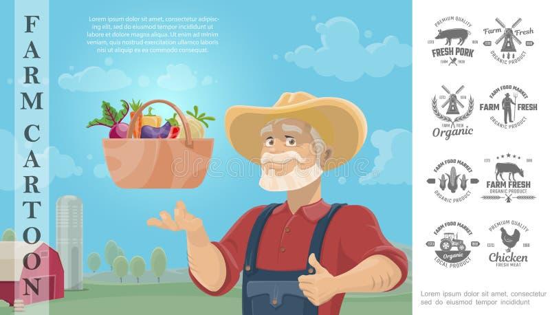 Desenhos animados que cultivam o conceito colorido ilustração royalty free