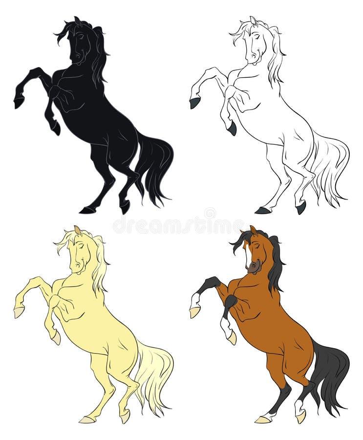 Desenhos animados que elevam a coleção do vetor dos cavalos imagem de stock royalty free