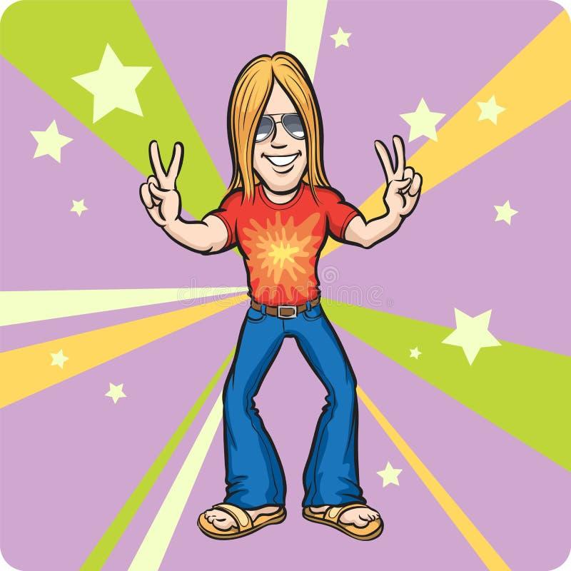 Desenhos animados que estão a hippie alegre ilustração royalty free