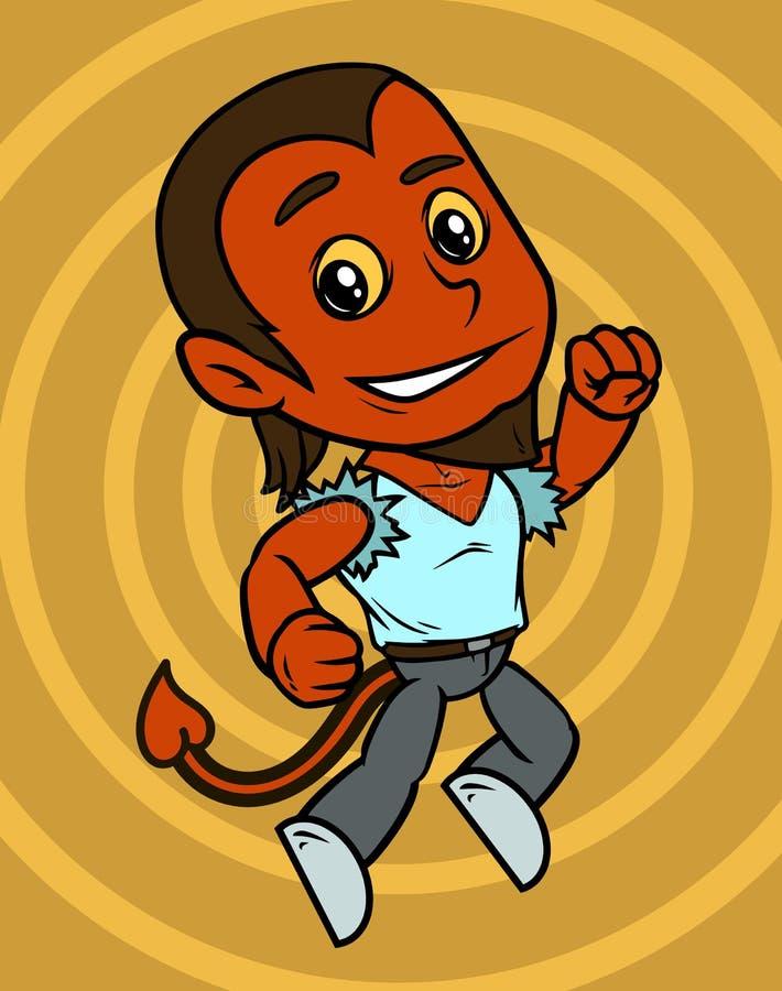 Desenhos animados que saltam pouco caráter do menino do diabo vermelho ilustração royalty free