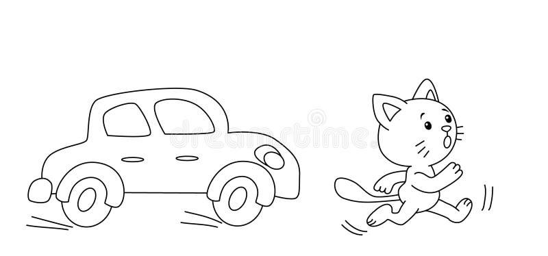 Desenhos animados que um gato está correndo do carro ilustração stock
