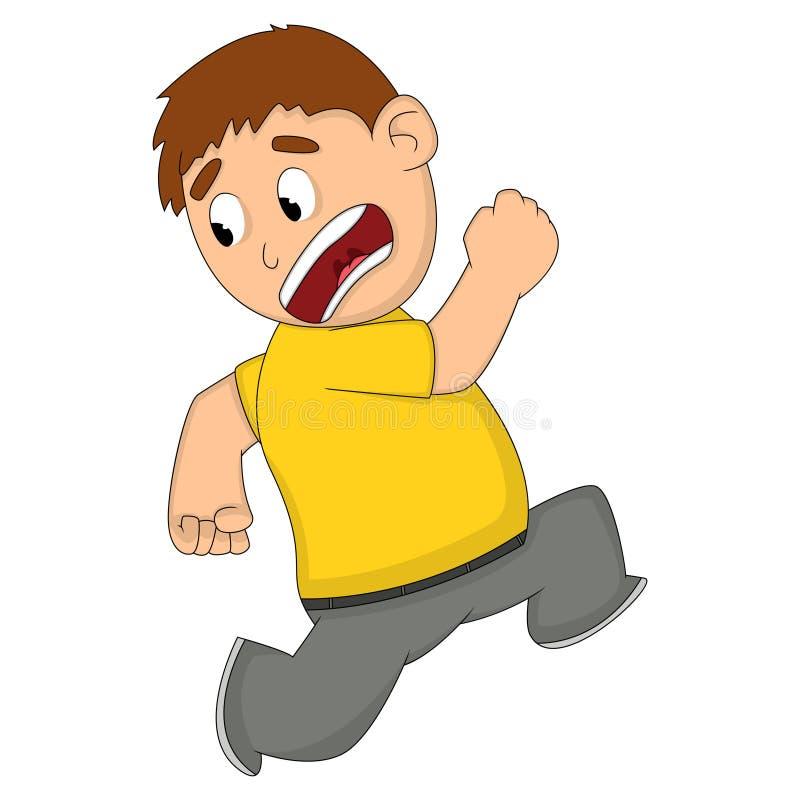 Desenhos animados receosos ou chocados do homem ilustração stock