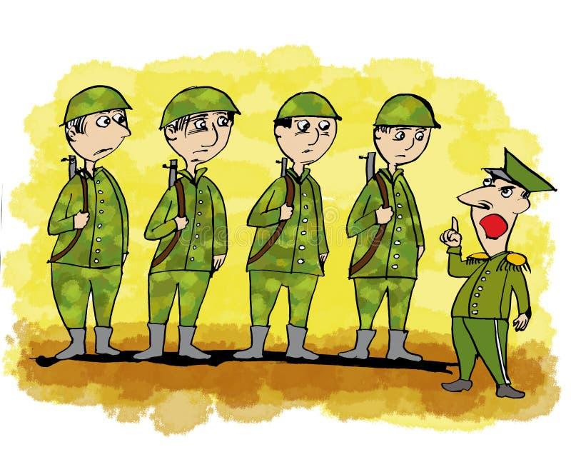 Desenhos animados relativos com militar ilustração do vetor