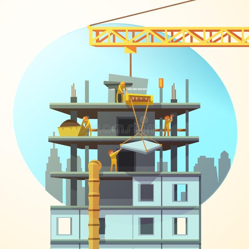 Desenhos animados retros da construção ilustração stock