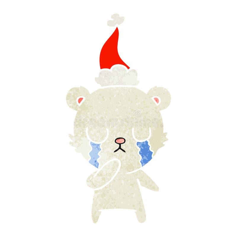 desenhos animados retros de grito do urso polar de um chap?u vestindo de Santa ilustração stock