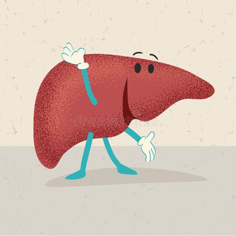 Desenhos animados retros de um fígado humano ilustração royalty free