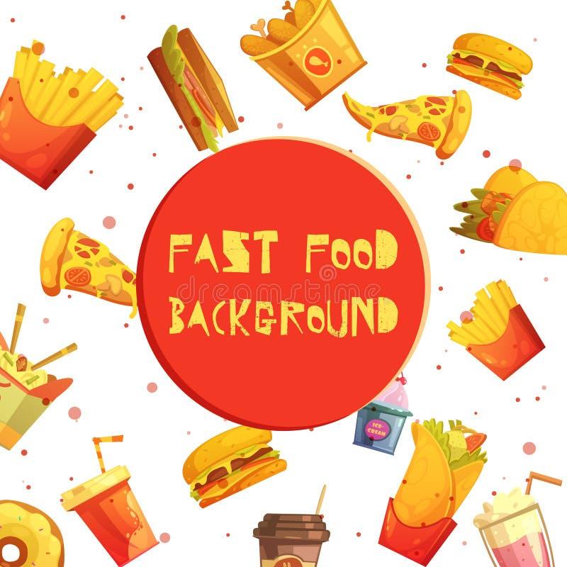 Desenhos animados retros do fundo decorativo do fast food ilustração do vetor