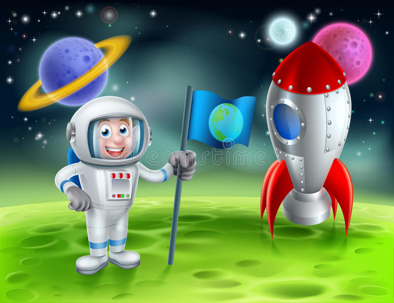 Desenhos animados Rocket Astronaut Scene ilustração do vetor