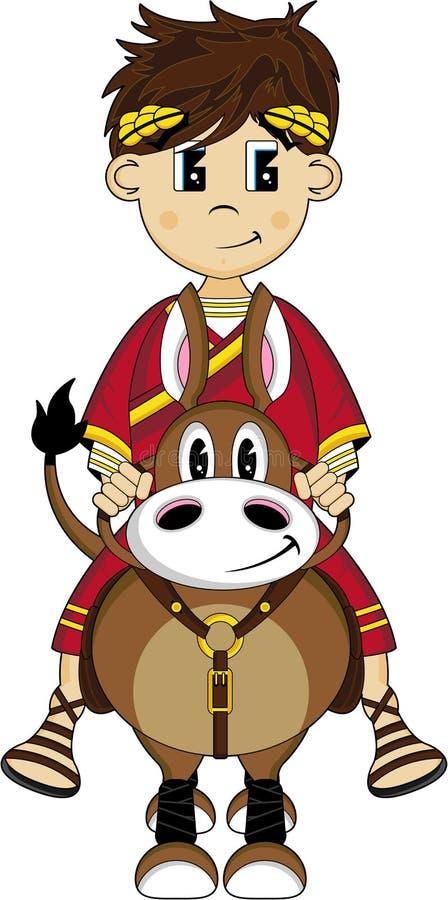 Desenhos animados Roman Emperor no cavalo ilustração do vetor