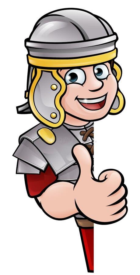 Desenhos animados Roman Peeking Around Sign antigo ilustração do vetor