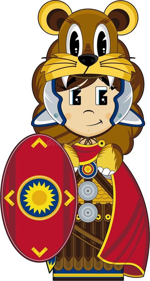Desenhos animados Roman Soldier com protetor ilustração do vetor