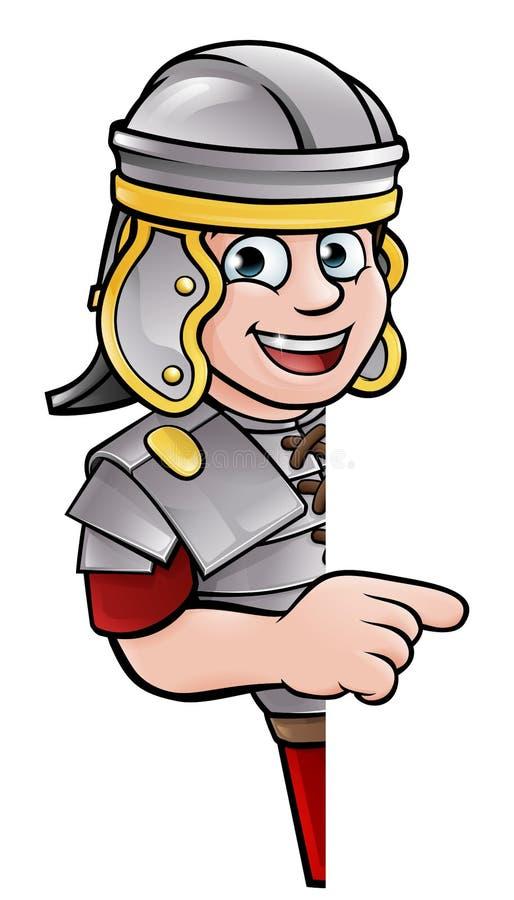 Desenhos animados Roman Soldier Pointing antigo ilustração do vetor