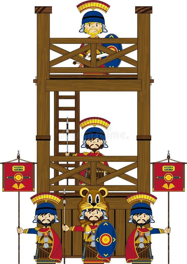 Desenhos animados Roman Soldiers na torre ilustração do vetor