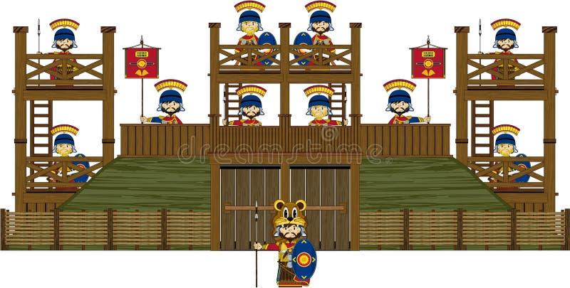 Desenhos animados Roman Soldiers no forte ilustração royalty free