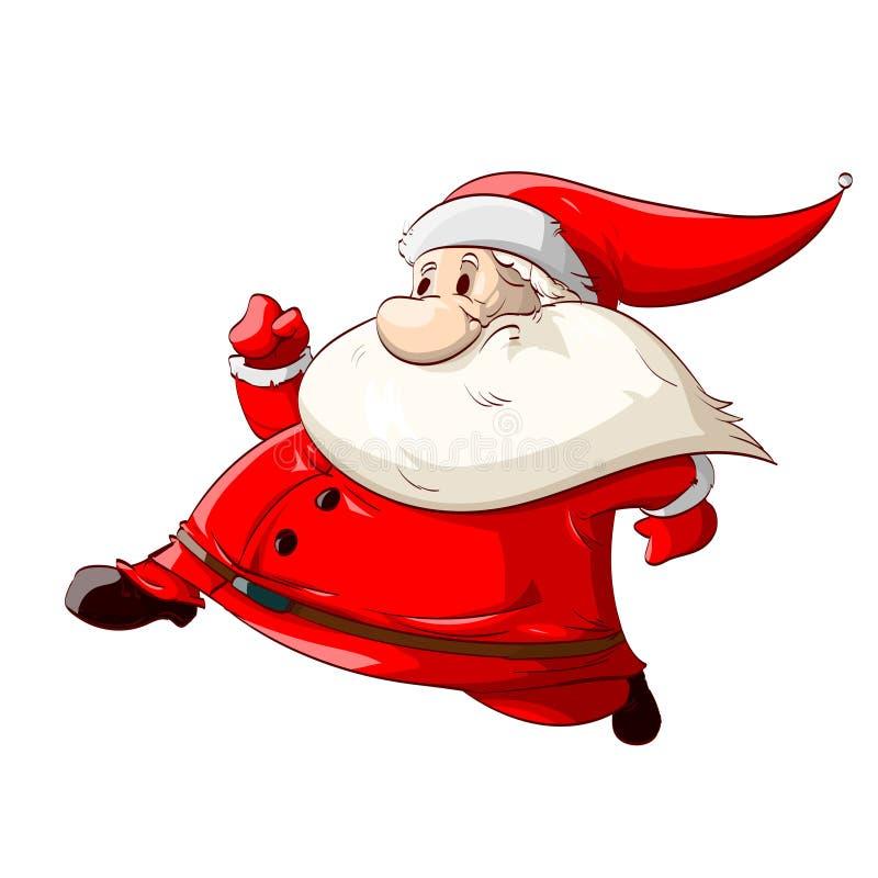 Desenhos animados running Santa ilustração do vetor