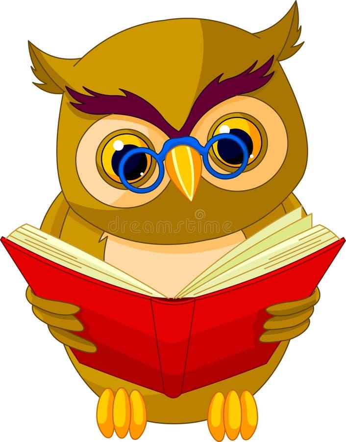 Desenhos animados sábios da coruja ilustração royalty free