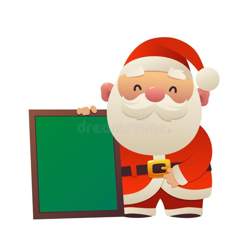 Desenhos animados Santa Claus bonito com o quadro de mensagens isolado ilustração stock