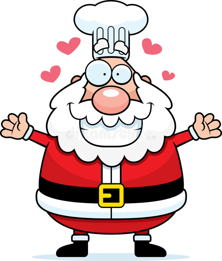 Desenhos animados Santa Claus Chef Hug ilustração stock