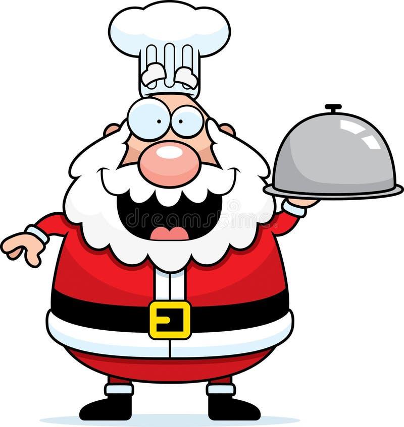 Desenhos animados Santa Claus Chef Serving ilustração stock
