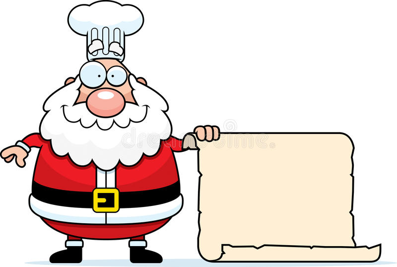 Desenhos animados Santa Claus Chef Sign ilustração royalty free