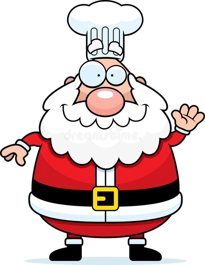 Desenhos animados Santa Claus Chef Waving ilustração do vetor