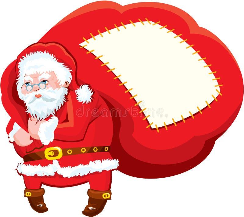 Desenhos animados Santa Claus com o saco enorme completo dos presentes - ilustração stock