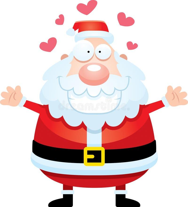Desenhos animados Santa Claus Hug ilustração stock