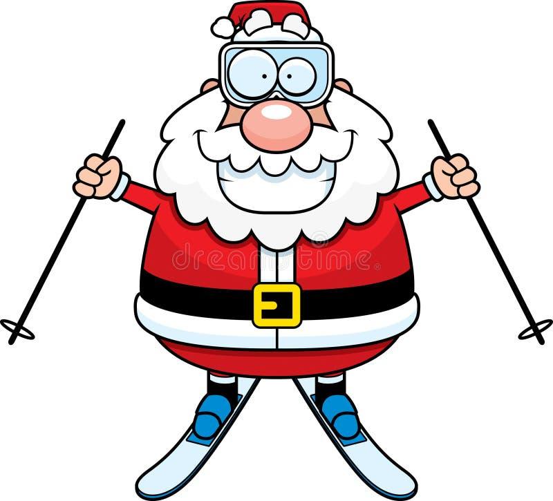 Desenhos animados Santa Claus Skiing ilustração stock