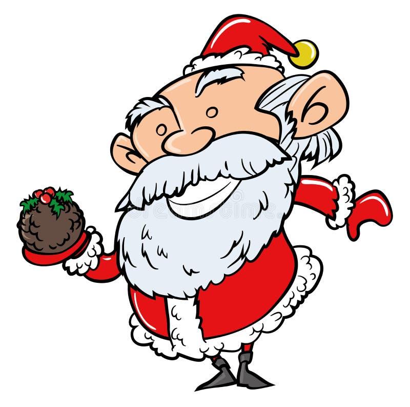 Desenhos animados Santa com pudim do Xmas ilustração stock