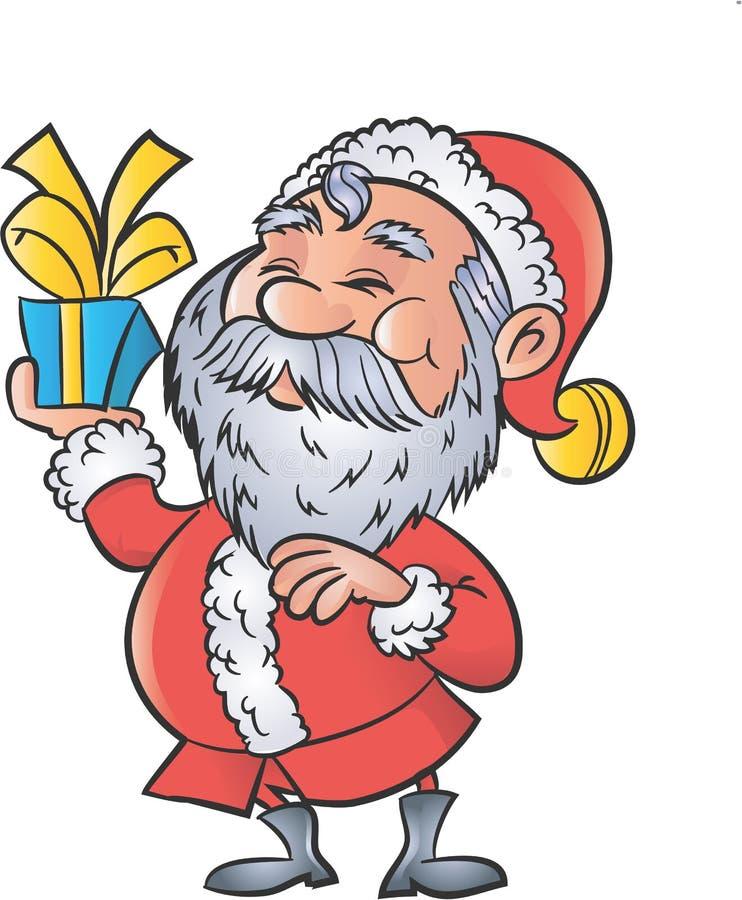 Desenhos animados Santa com um presente do Natal ilustração royalty free