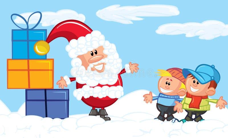 Desenhos animados Santa com uma barba branca na neve ilustração do vetor