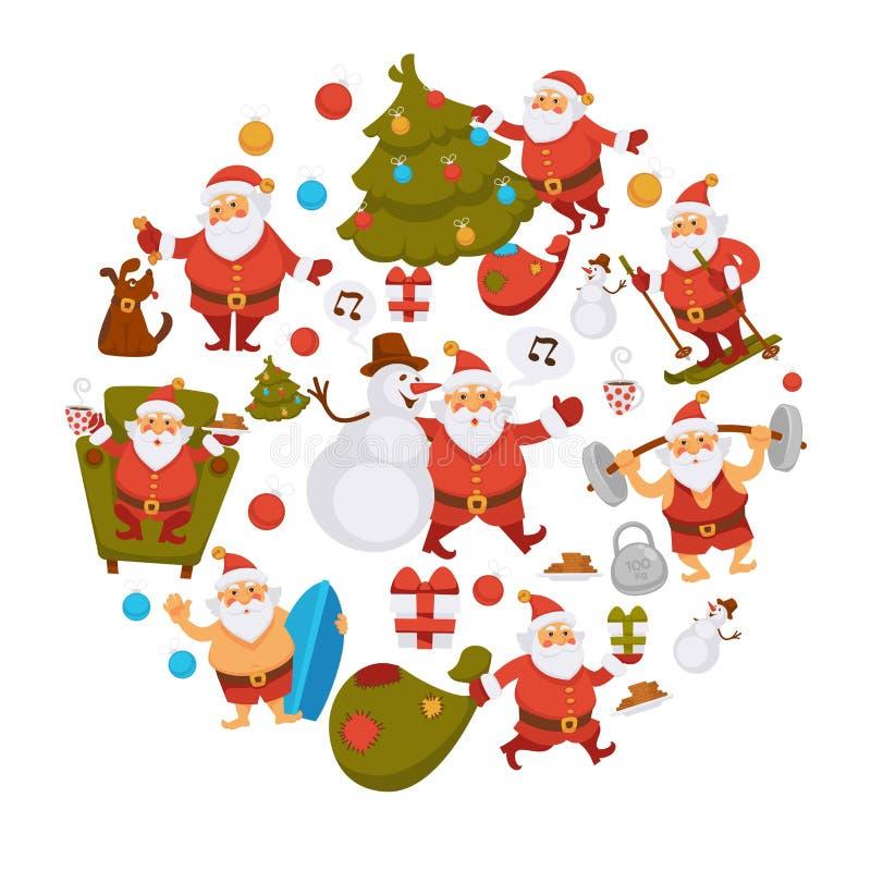 Desenhos animados Santa do ano novo feliz que comemora feriados ou que tem ícones do divertimento do verão do lazer para o projet ilustração stock