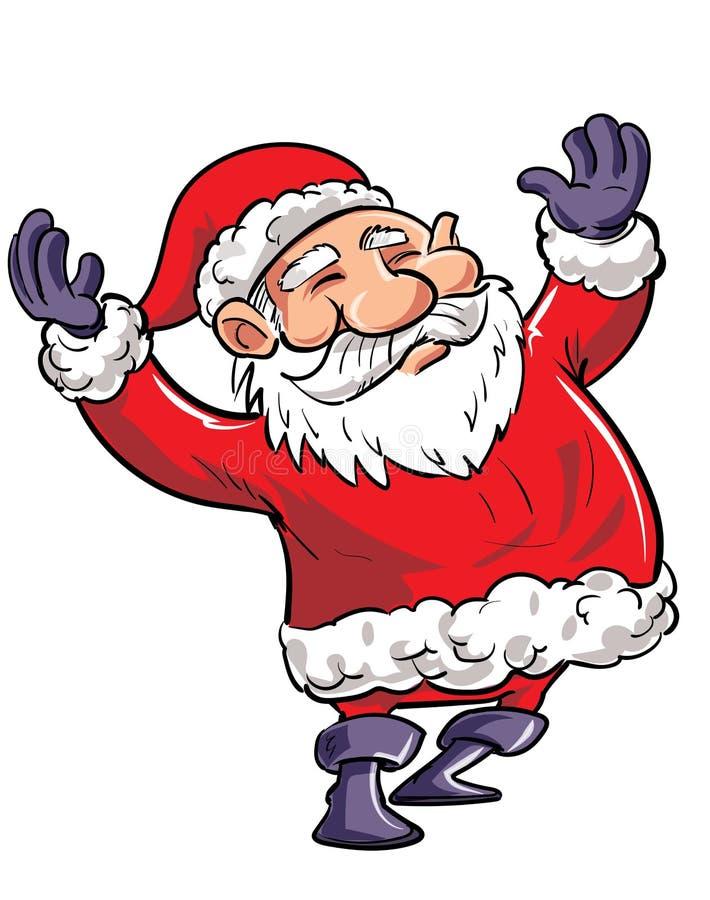 Desenhos animados Santa feliz com ondulação dos braços ilustração stock