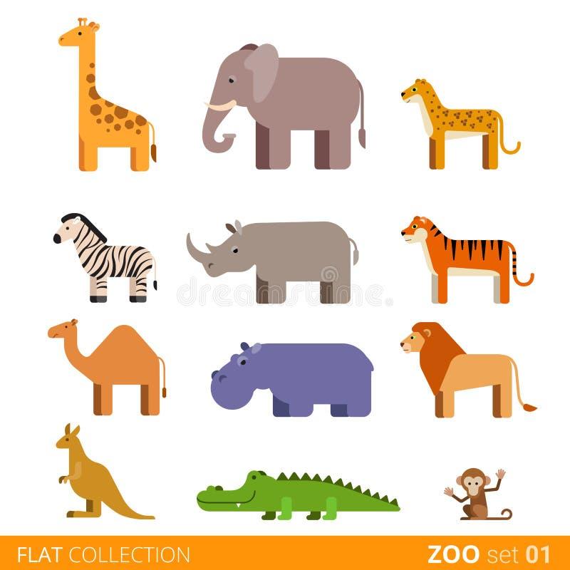 Desenhos animados selvagens do animal doméstico da exploração agrícola do ícone liso do vetor ilustração do vetor