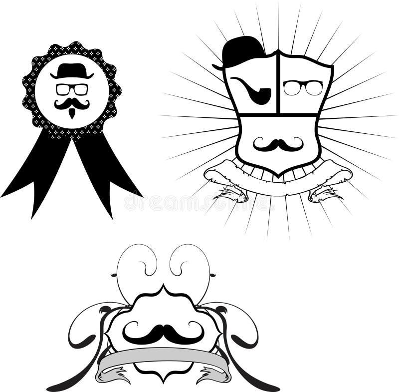 Desenhos animados set3 da crista do moderno ilustração do vetor