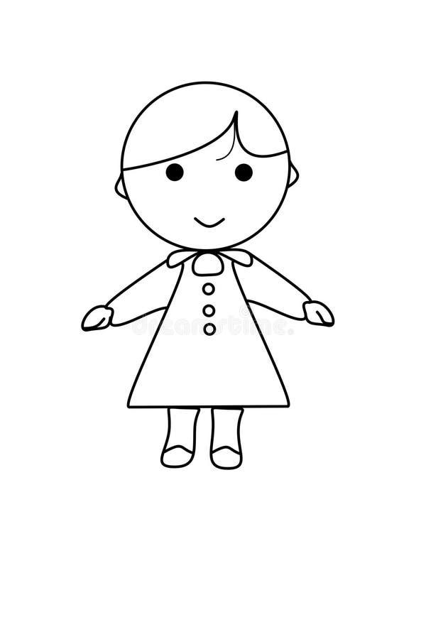 Desenhos Animados Simples De Uma Menina Bonito Ilustracao Stock