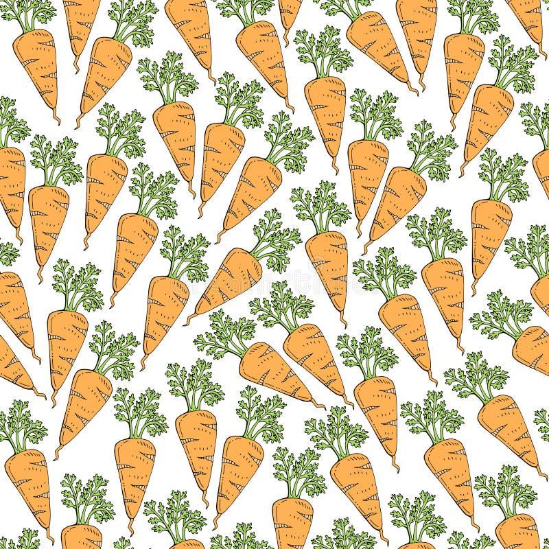 Desenhos animados simples que repetem o teste padrão bonito do vetor sem emenda com a cenoura saudável da cor Desenho da m?o ilustração royalty free