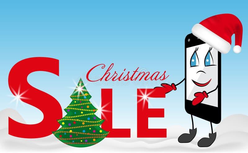 Desenhos animados Smartphone no chapéu vermelho de Santa Claus e na venda do sinal com árvore de Natal Vetor ilustração stock