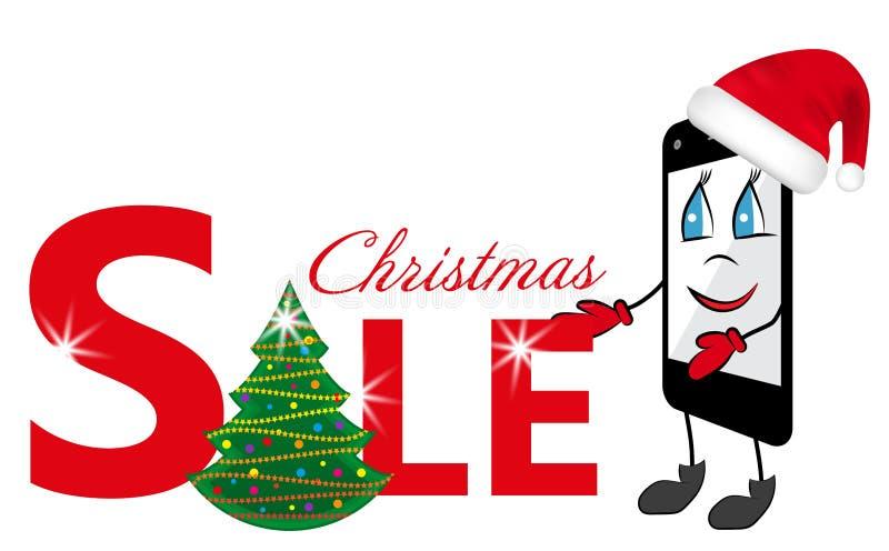 Desenhos animados Smartphone no chapéu vermelho de Santa Claus e na venda do sinal com árvore de Natal Vetor ilustração royalty free