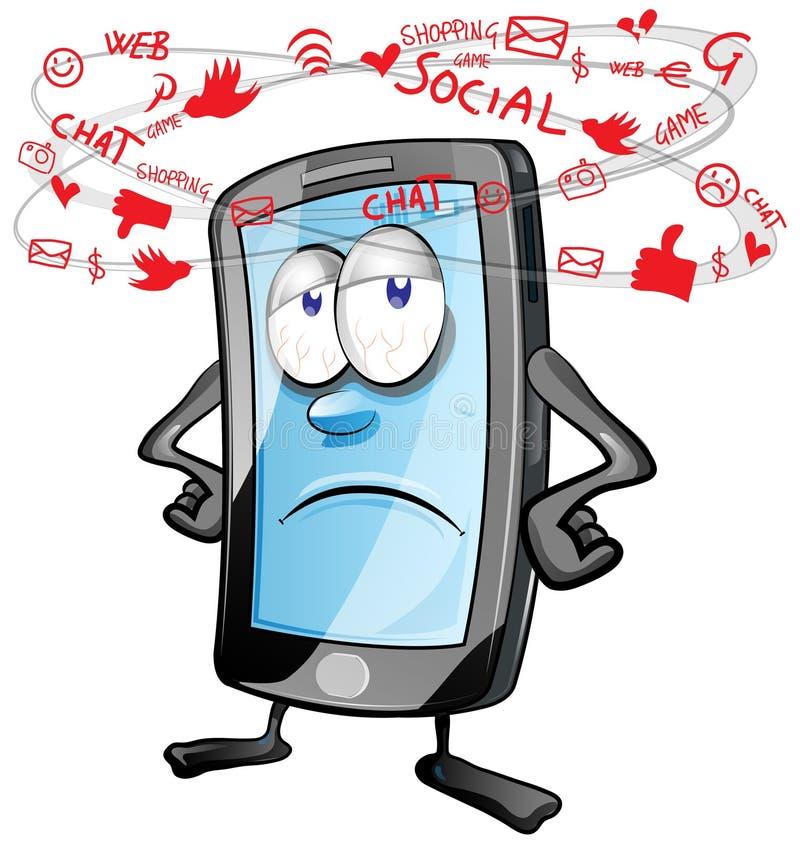 Desenhos animados sociais móveis do divertimento ilustração royalty free